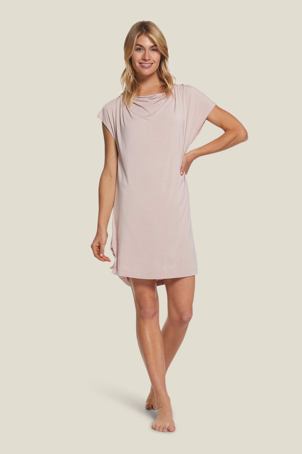 Barefoot Dreams  LMJ Cowl Neck Nightshirt - Front Full Image