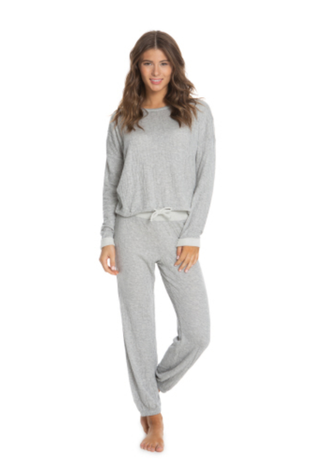 Barefoot Dreams Malibu Collection Crinkle Jersey Lounge Set - Front Cropped Image