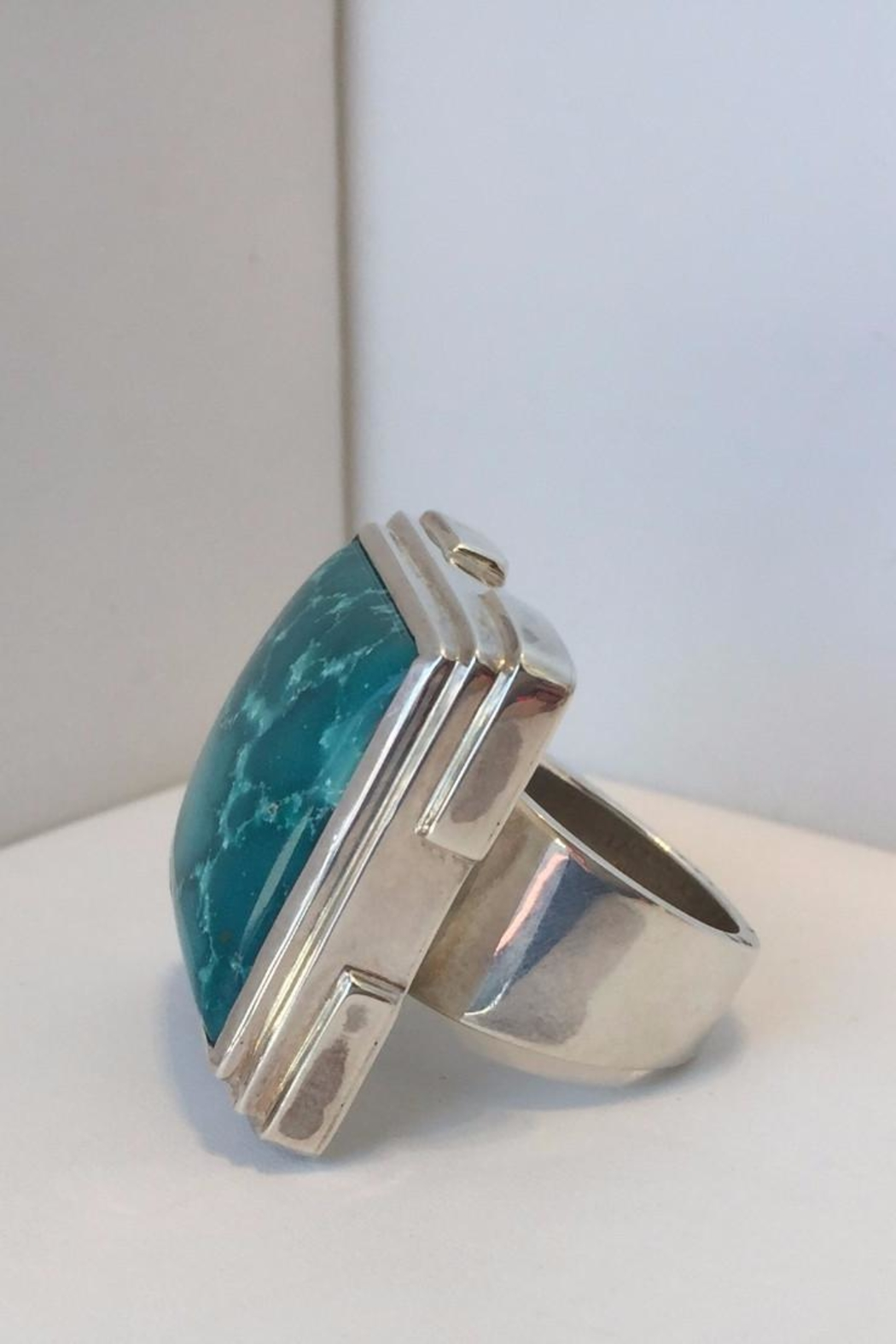 Barry Brinker Fine Jewelry Large Square Turquoise Ring - Front Full Image