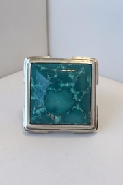 Barry Brinker Fine Jewelry Large Square Turquoise Ring - Front cropped