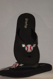 Glitterflops Baseball Flip Flops - Front full body