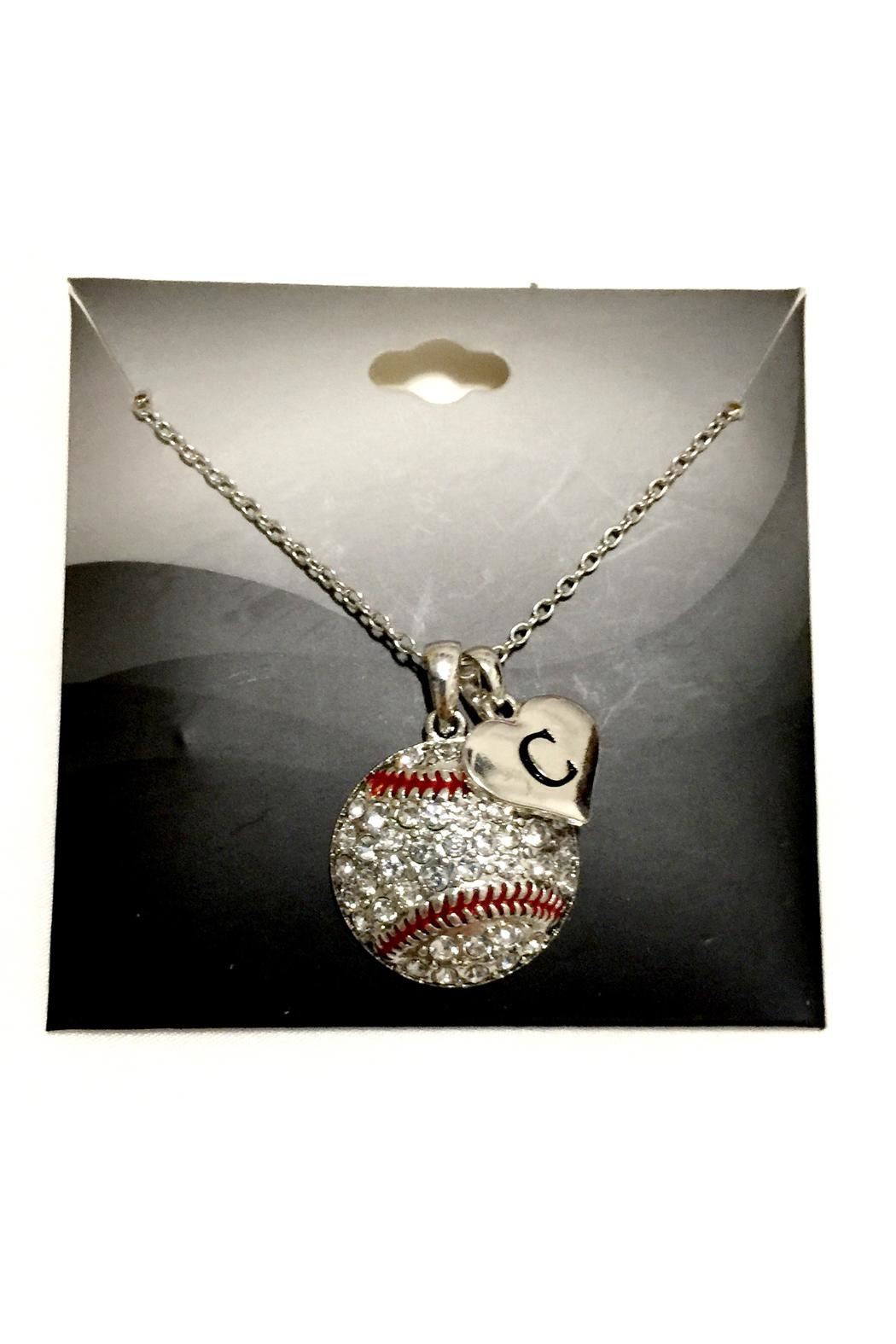 JChronicles Baseball-Necklace With Initial - Front Full Image
