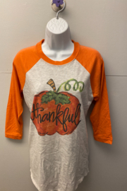 "Kindred Mercantile  Baseball tee ""Thankful Pumpkin"" - Product Mini Image"