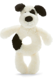 Jellycat Bashful Black & Cream Puppy Ring Rattle - Product Mini Image