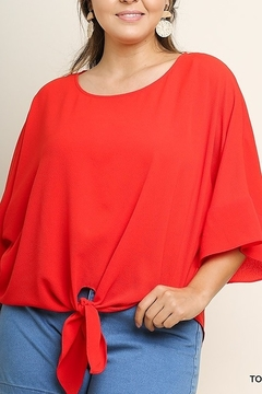Umgee  Basic 3/4 Sleeve Round Neck Top with Center Waist Tie - Product List Image