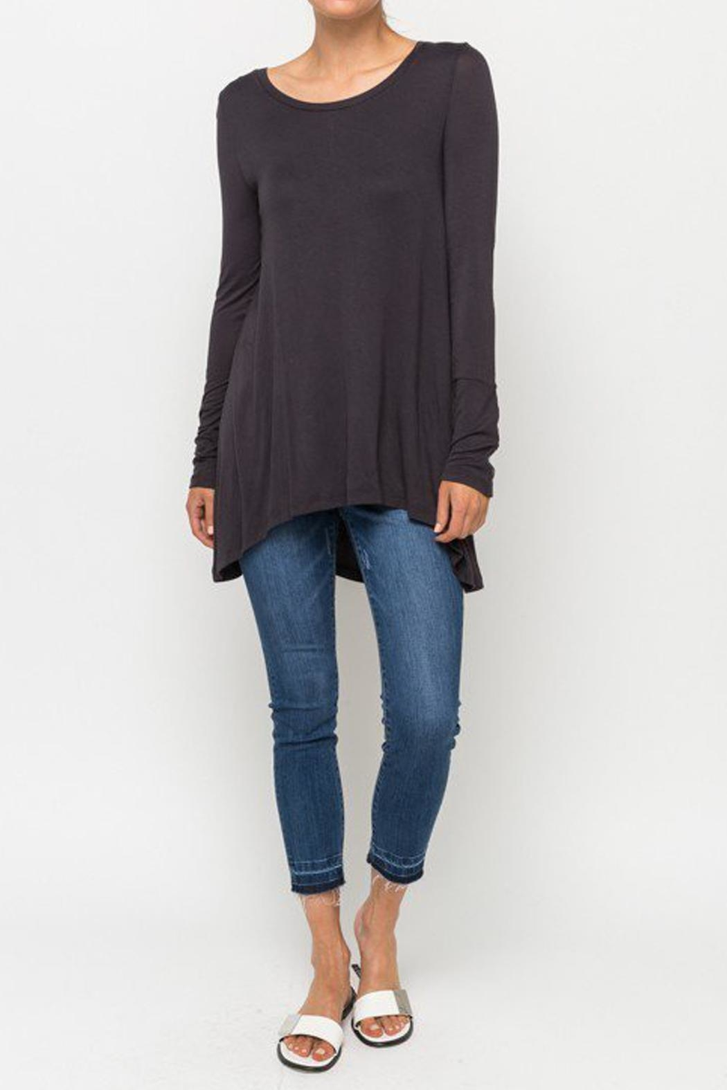 Mystree Basic Charcoal Top - Back Cropped Image