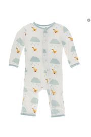 Kickee Pants Basic Coverall with Zipper in Puddle Duck - Front full body