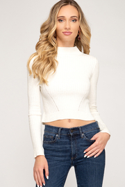 She and Sky Basic High Neck Cropped Sweater - Product Mini Image