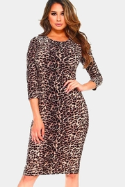 Yelete Basic-Leopard Print-Midi Bodycon-Dress - Product Mini Image