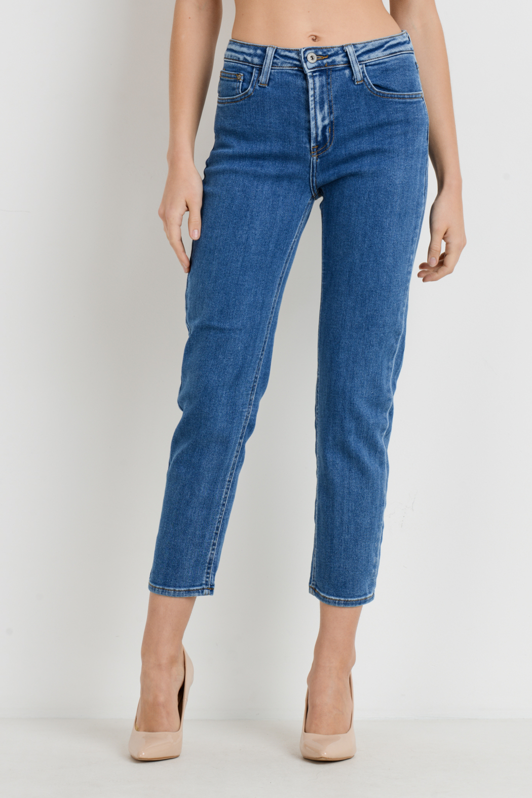 Just Black Denim Basic Mom Jean - Front Full Image