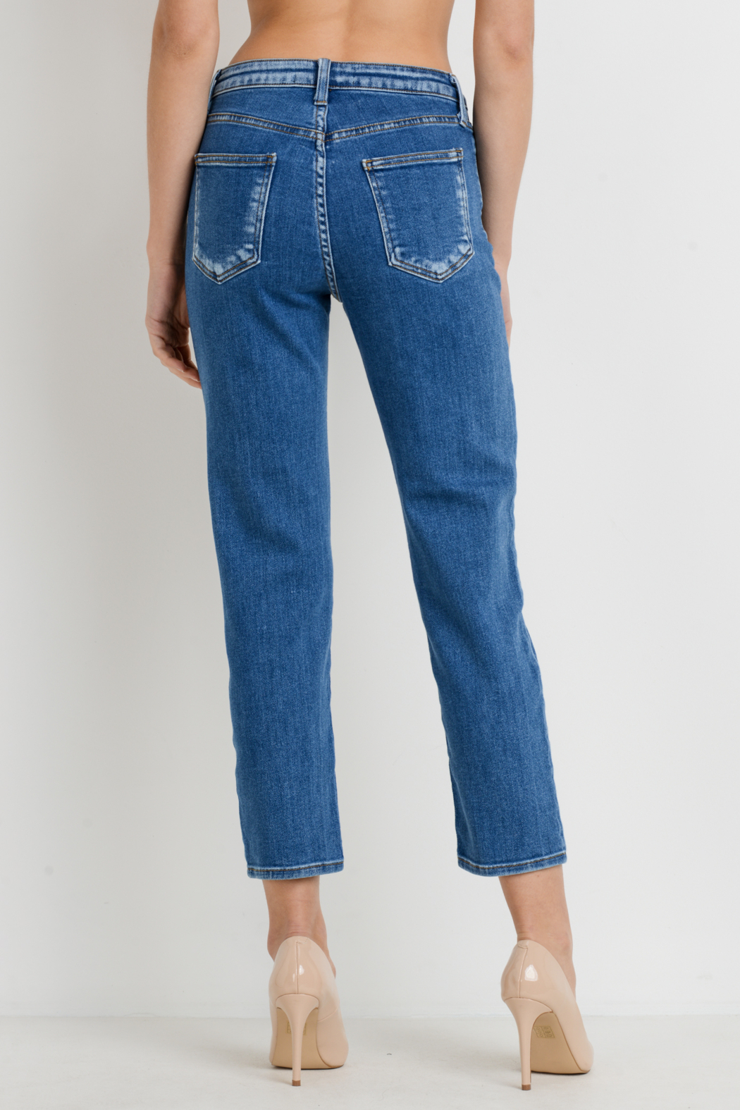 Just Black Denim Basic Mom Jean - Back Cropped Image