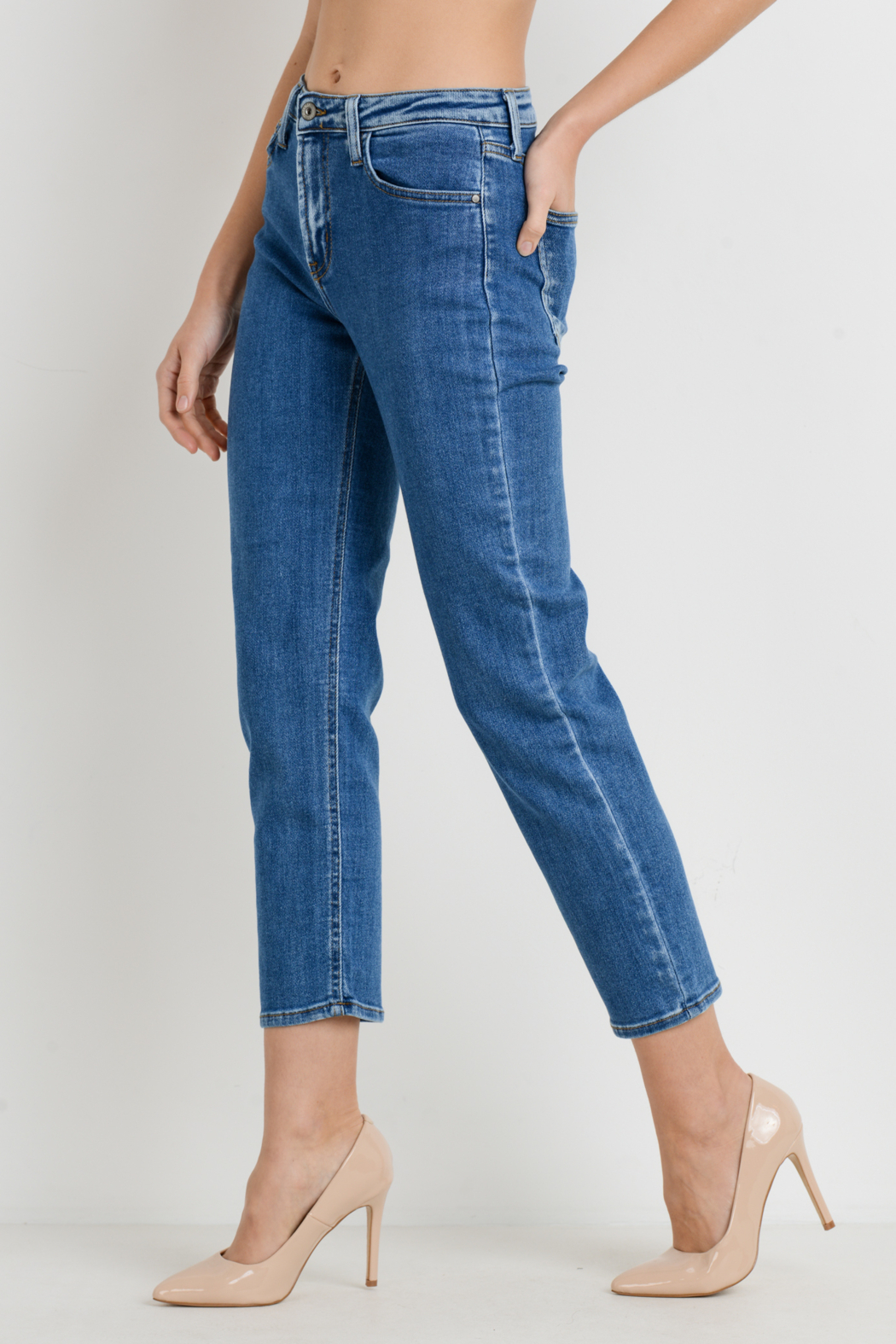 Just Black Denim Basic Mom Jean - Side Cropped Image