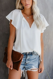 Lyn-Maree's  Basic White Flutter Top - Product Mini Image