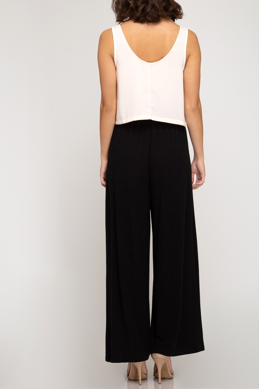 She + Sky Basic Wide Leg Pants - Front Full Image