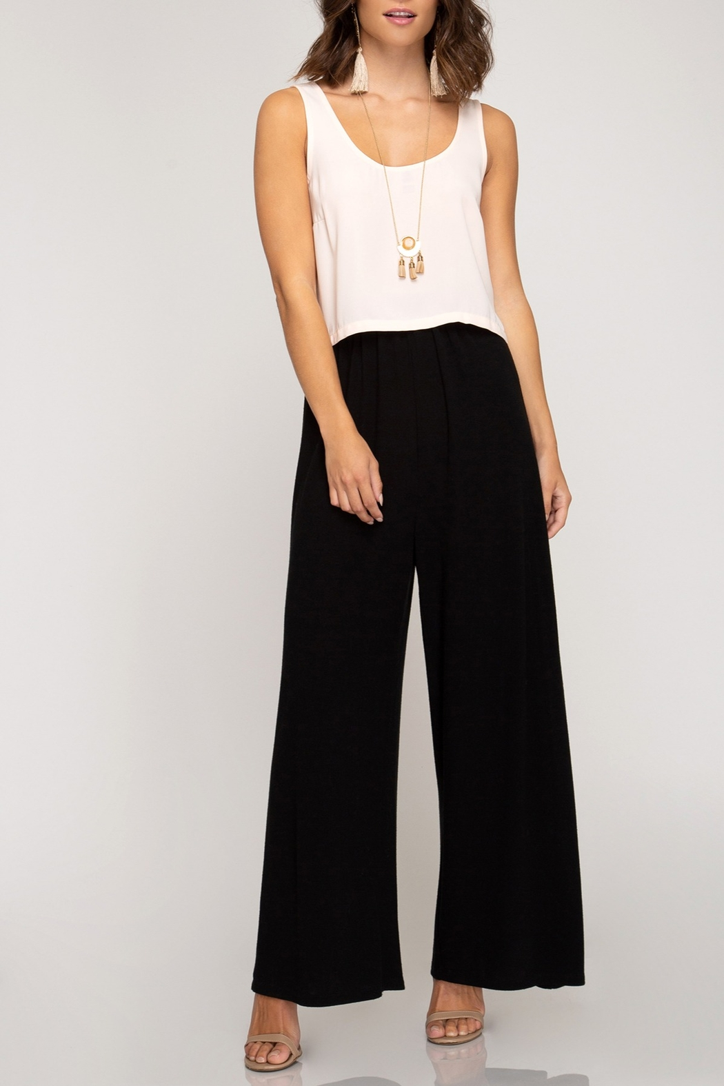 She + Sky Basic Wide Leg Pants - Front Cropped Image