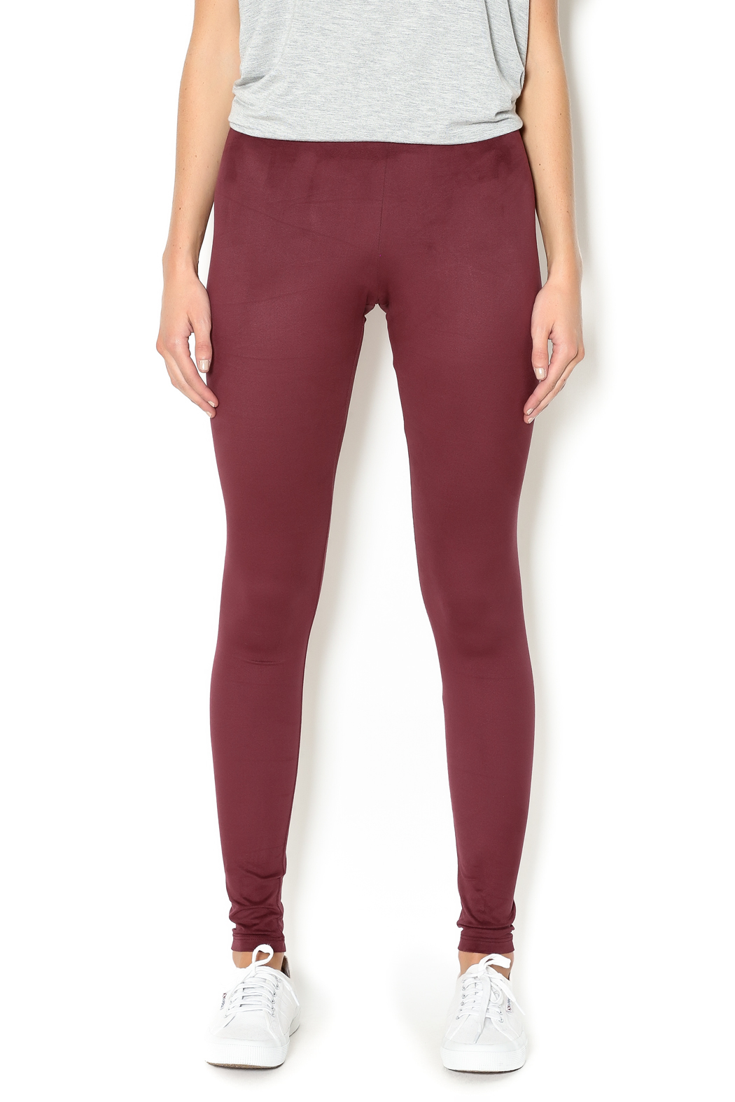 Basically Me Faux Suede Leggings - Front Cropped Image