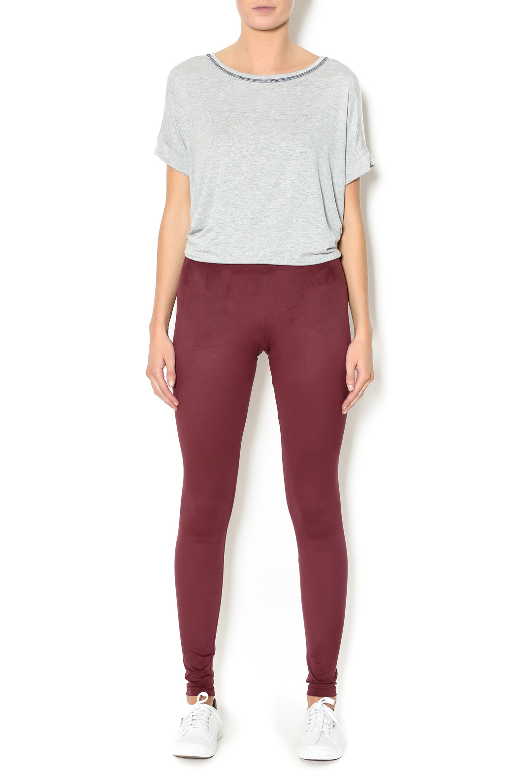 Basically Me Faux Suede Leggings - Front Full Image