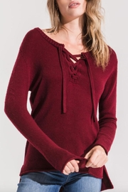 rag poets Basil Lace-Up Sweater - Front full body