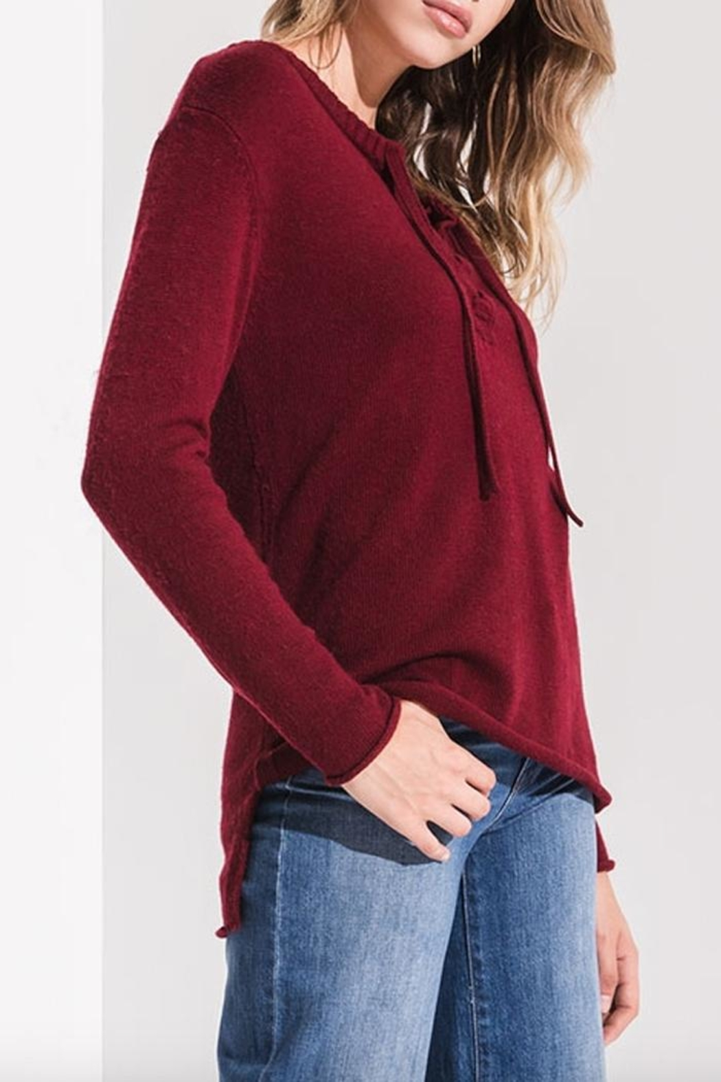 rag poets Basil Lace-Up Sweater - Side Cropped Image