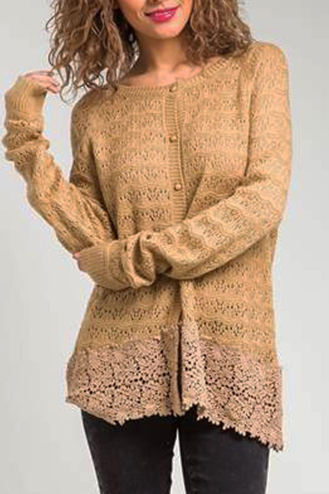 Basil & Lola Cream Lace Cuffed Cardigan - Main Image