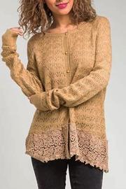 Basil & Lola Cream Lace Cuffed Cardigan - Front cropped