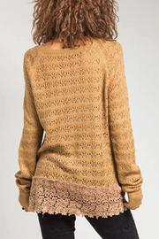 Basil & Lola Cream Lace Cuffed Cardigan - Front full body