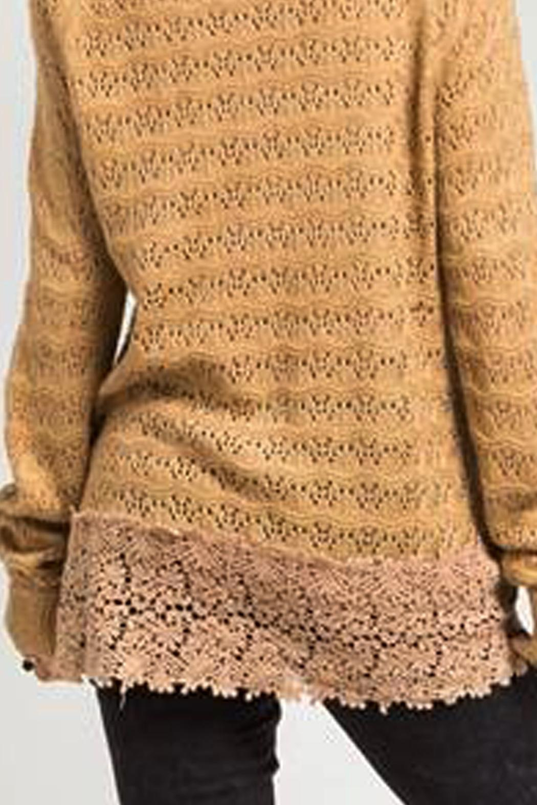 Basil & Lola Cream Lace Cuffed Cardigan - Side Cropped Image