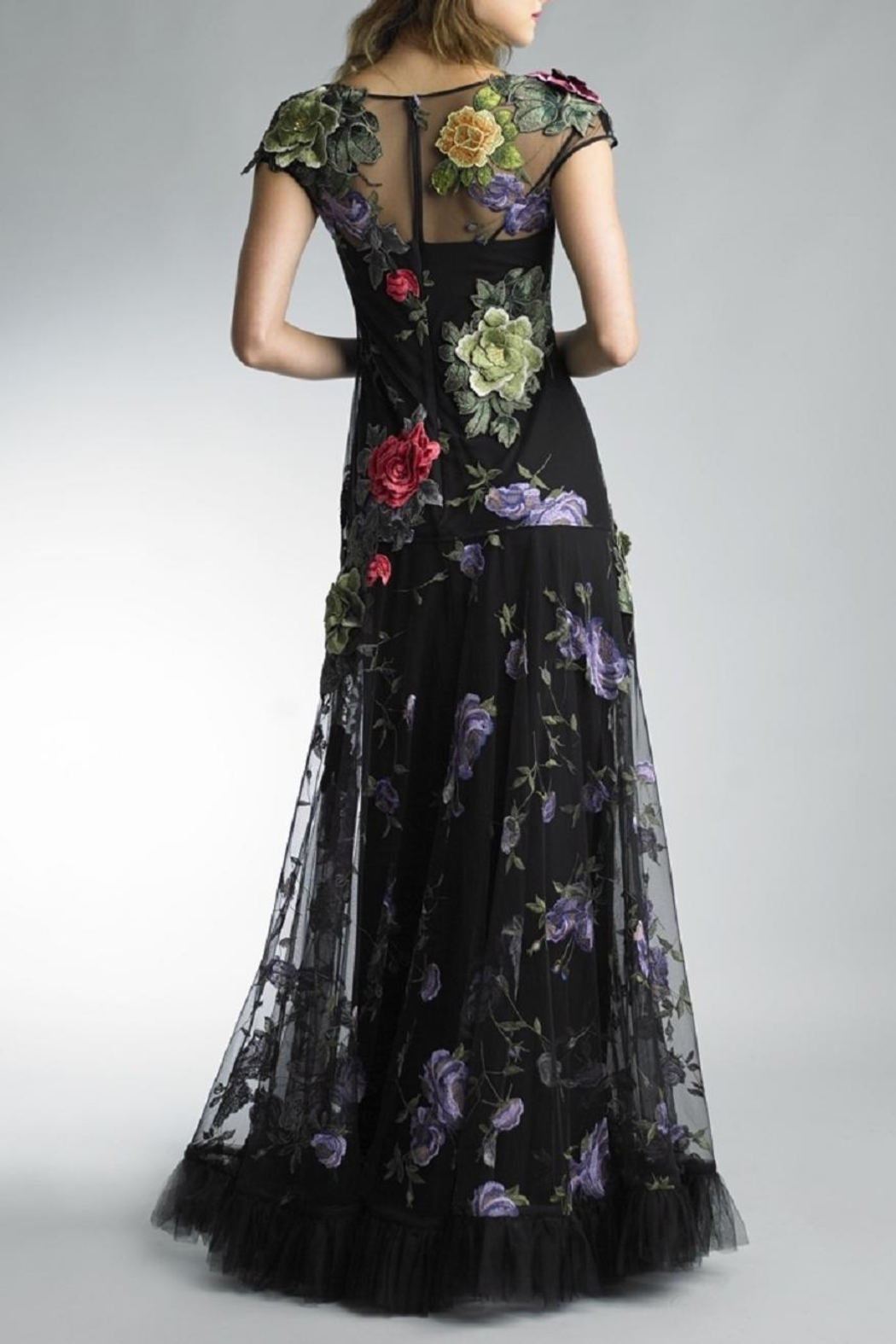 Basix Floral Applique Gown - Front Full Image