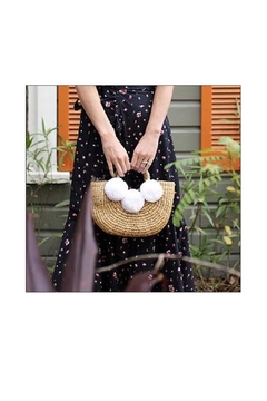 Jadetribe Basket Handbag Whitepom - Alternate List Image