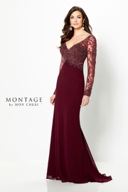 Montage Basque Beaded Dress with Sleeves in Burgundy - Product Mini Image