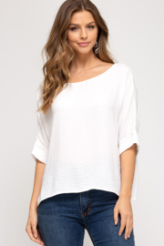 She and Sky BAT WING TOP - Front cropped