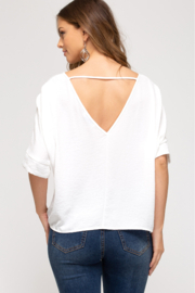 She and Sky BAT WING TOP - Front full body