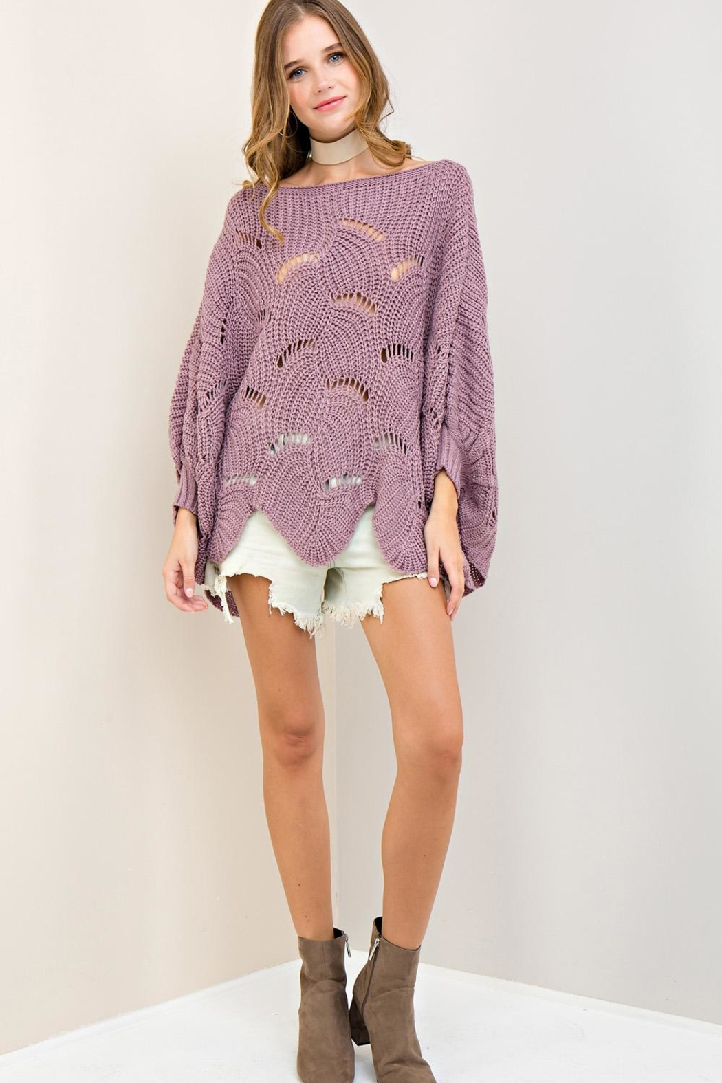 Entro Batwing Scallop-Edge Sweater - Main Image
