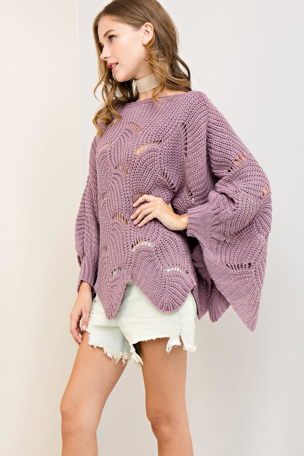 Entro Batwing Scallop-Edge Sweater - Side Cropped Image