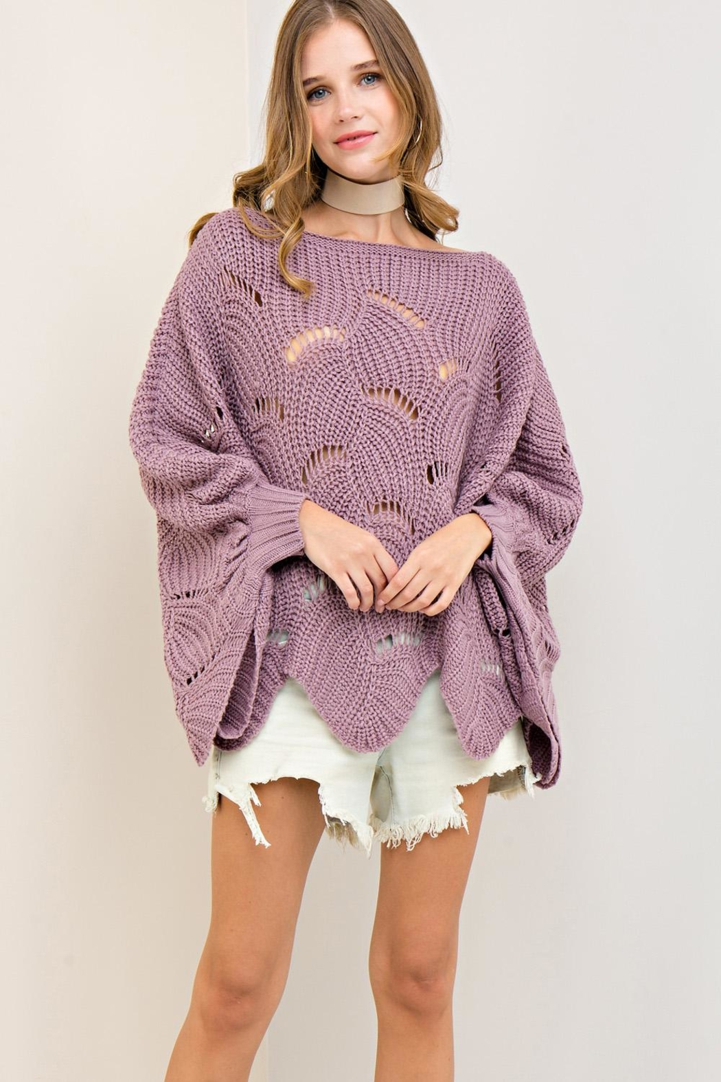 Entro Batwing Scallop-Edge Sweater - Front Full Image