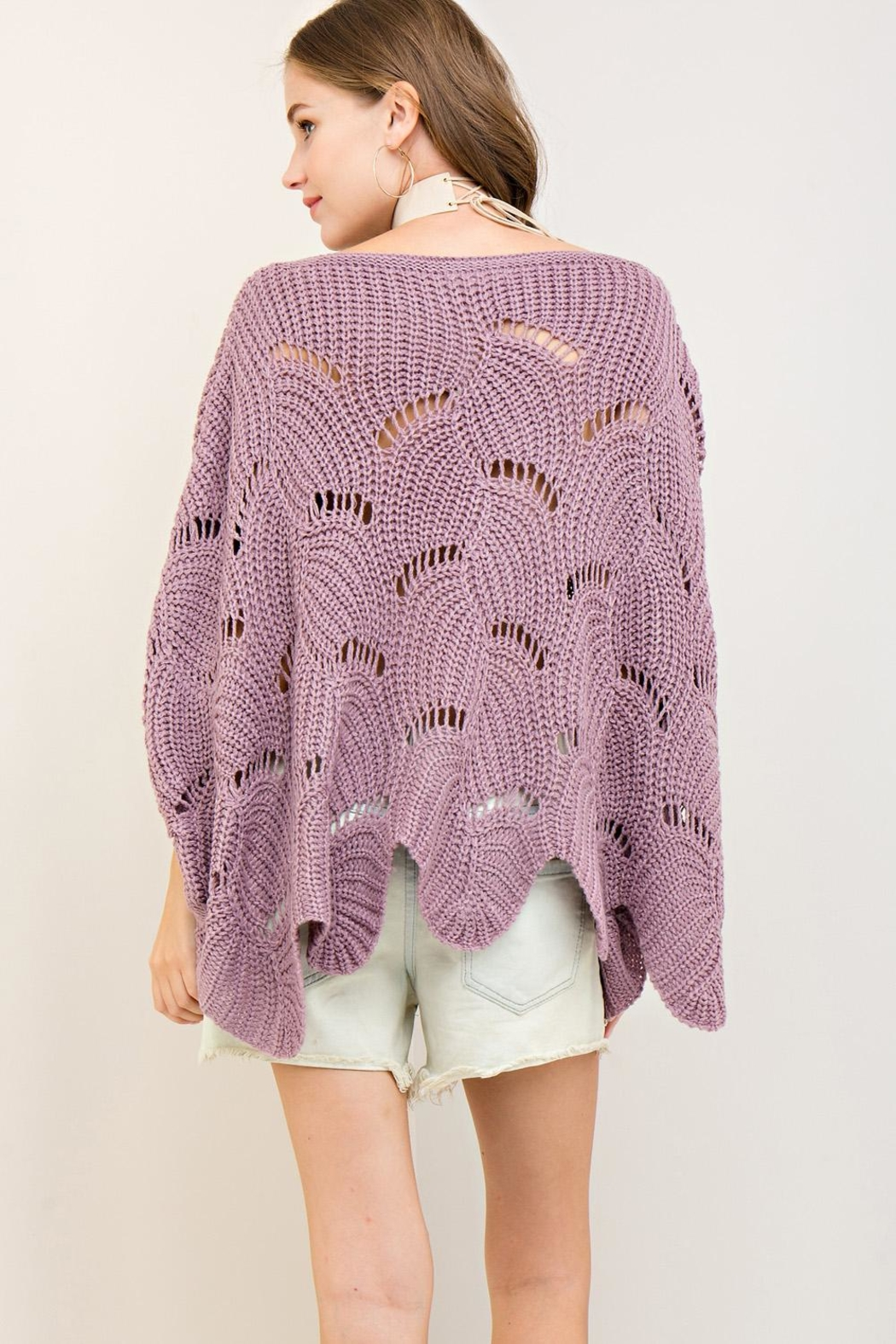 Entro Batwing Scallop-Edge Sweater - Back Cropped Image