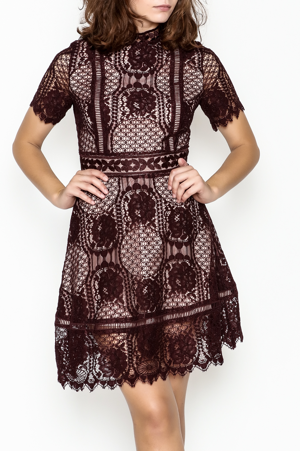 BB Dakota Lace Overlay Dress - Main Image