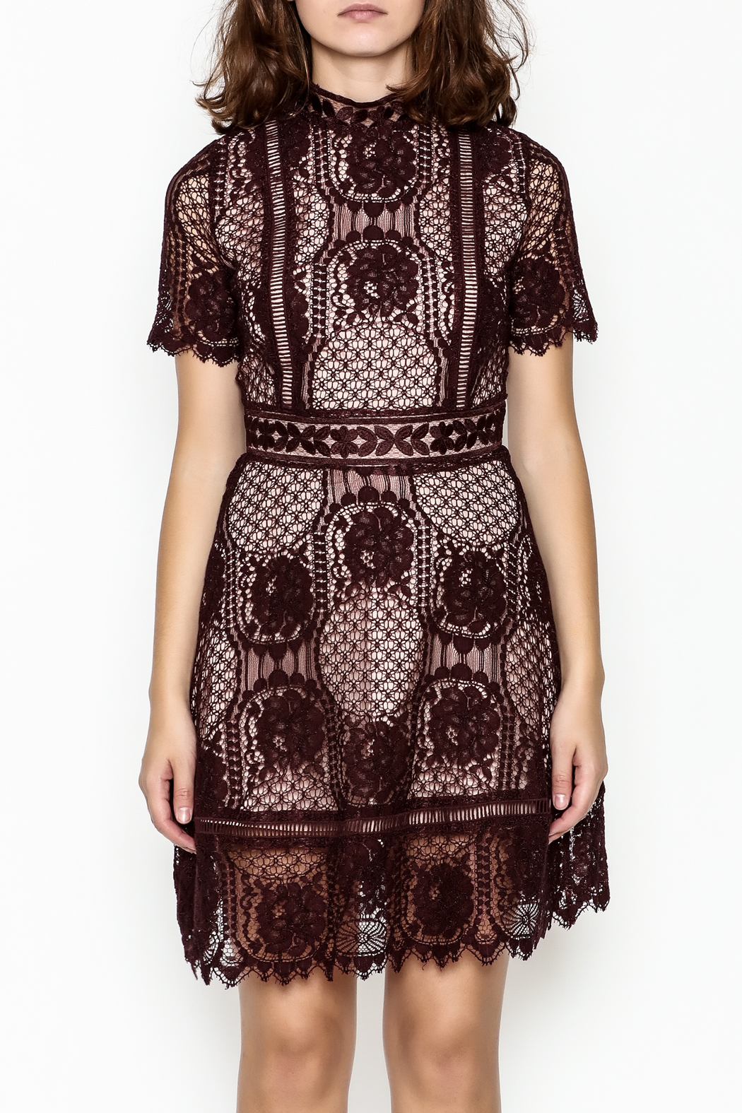 BB Dakota Lace Overlay Dress - Front Full Image