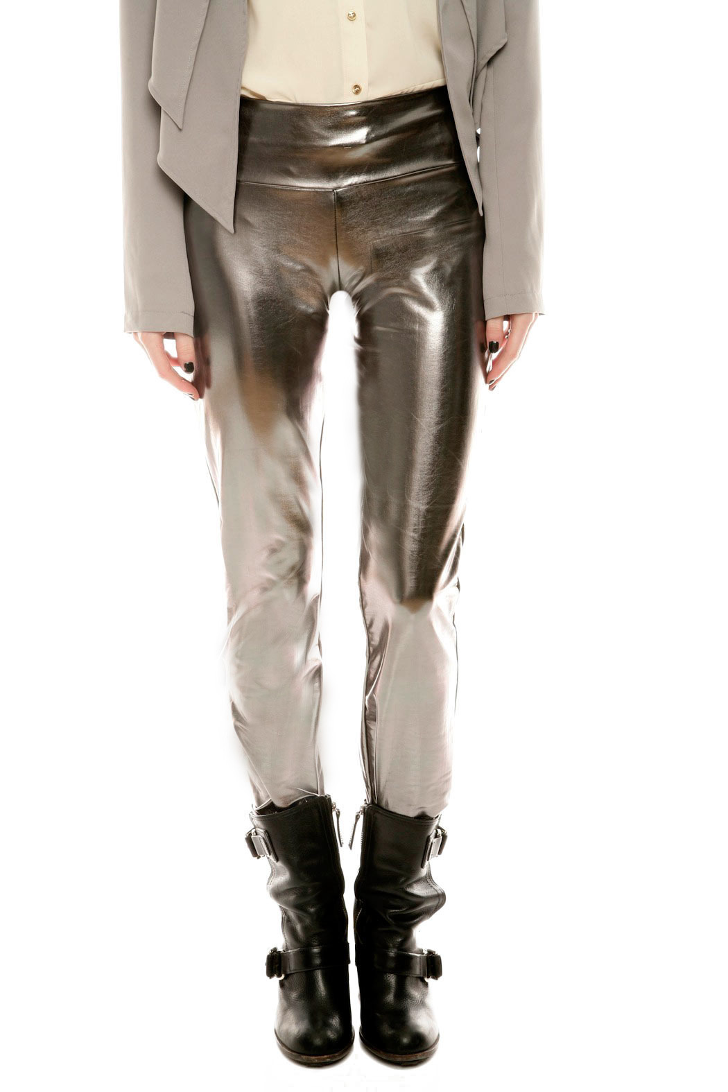 The Aesthetik Gunmetal Metallic Pants - Main Image