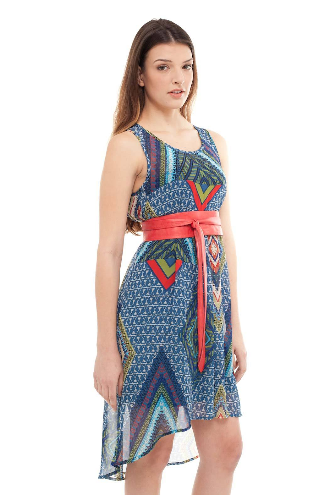 Yellow House Aztec Print Dress - Side Cropped Image
