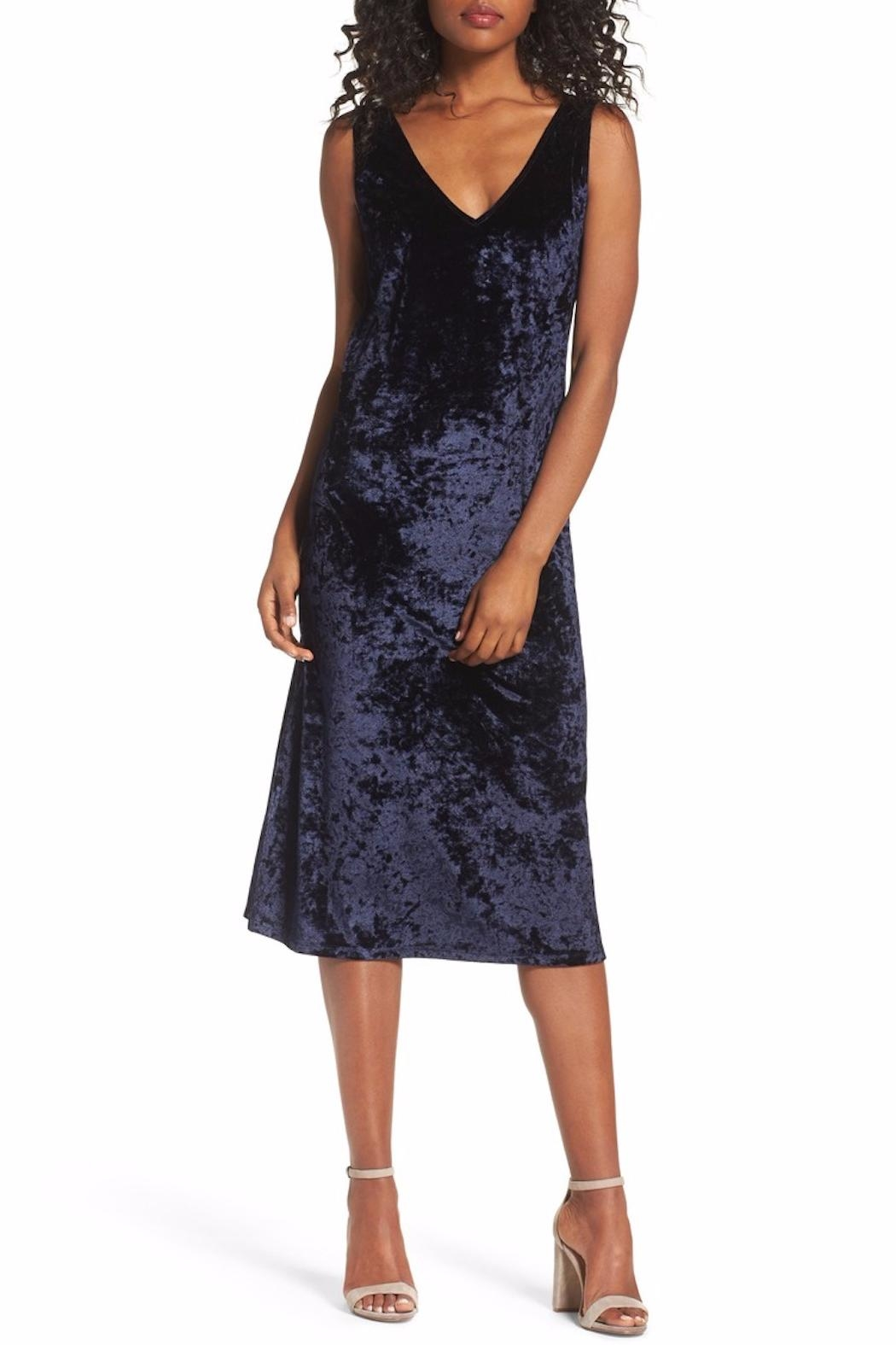 BB Dakota Blue Velvet Midi Dress - Main Image