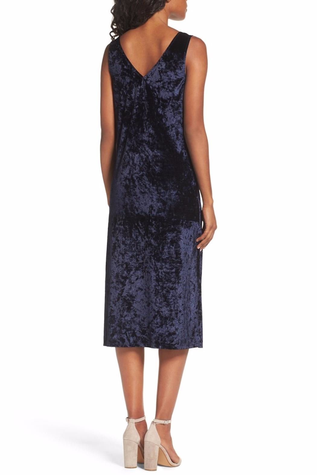 BB Dakota Blue Velvet Midi Dress - Front Full Image