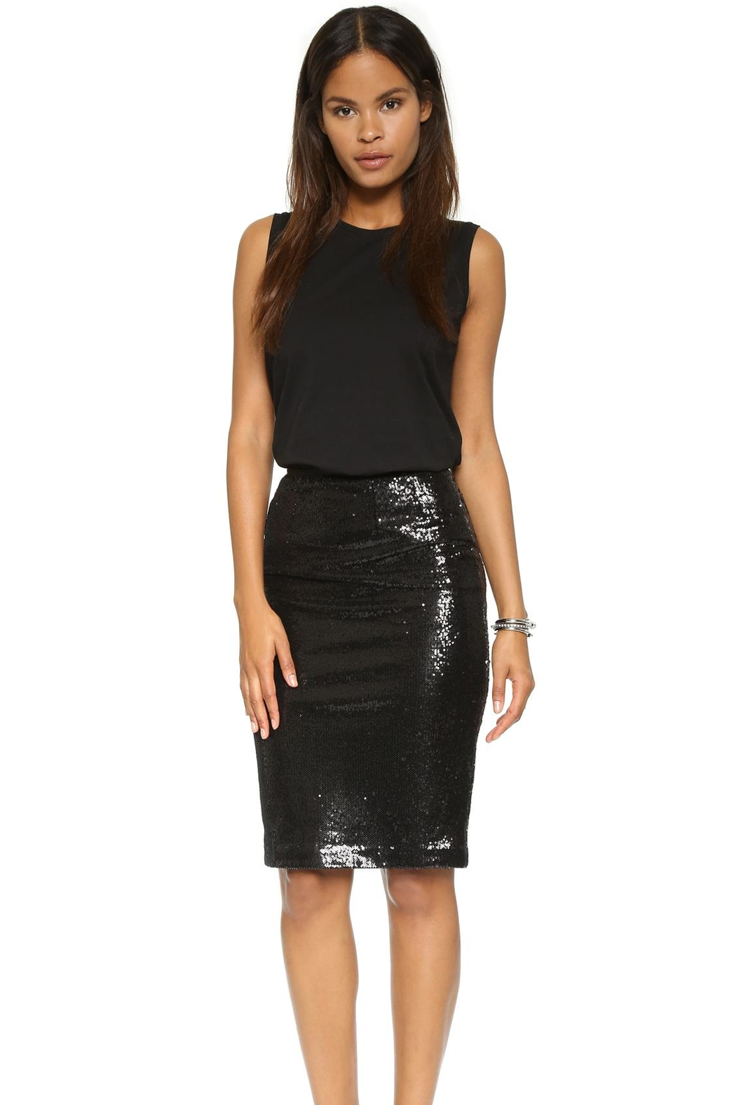 BB Dakota Sequin Pencil Skirt - Front Cropped Image