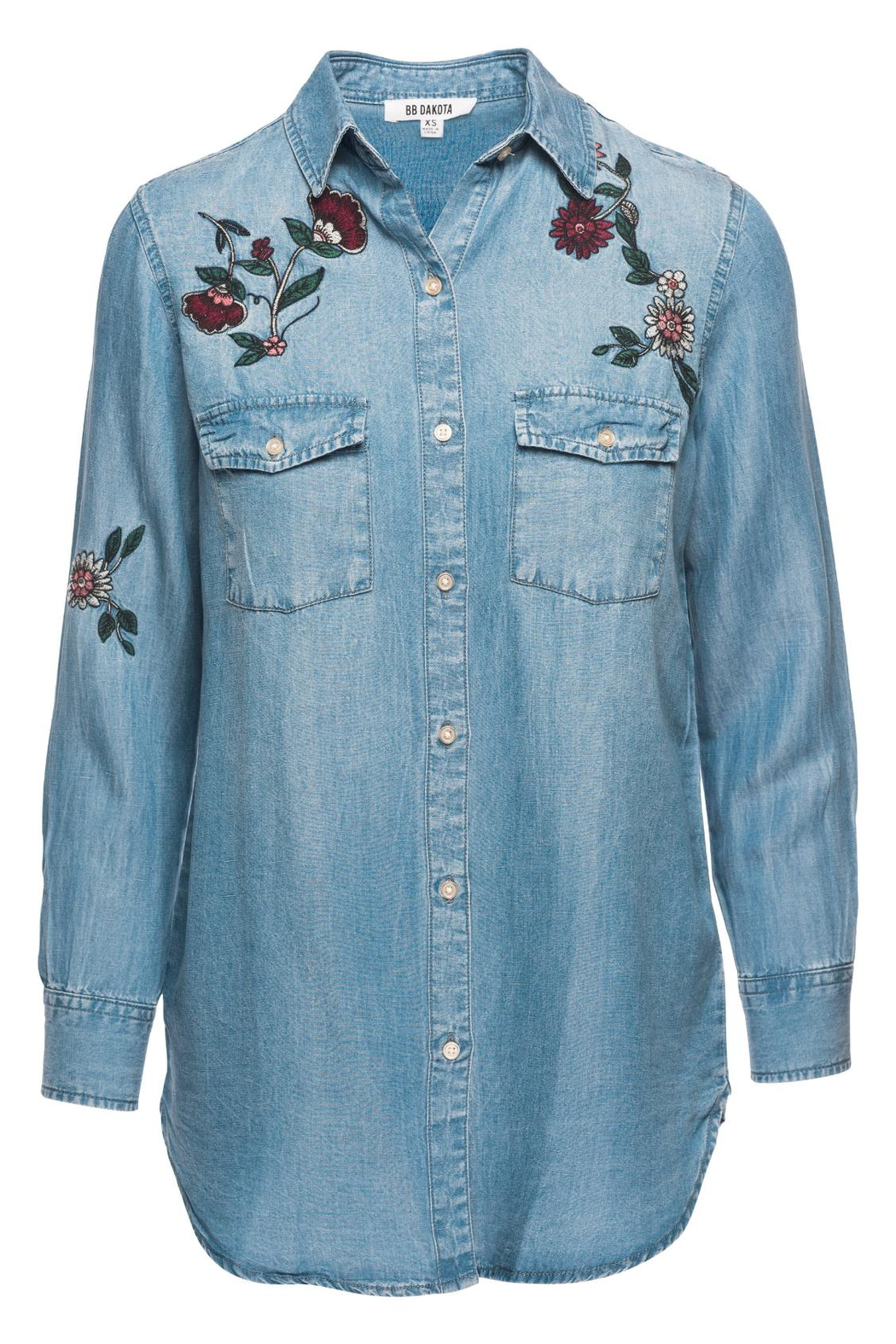 BB Dakota Trent Floral Embroidered Shirt - Main Image