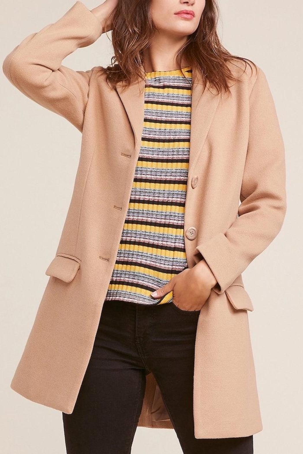 BB Dakota Twill Camel Coat - Main Image