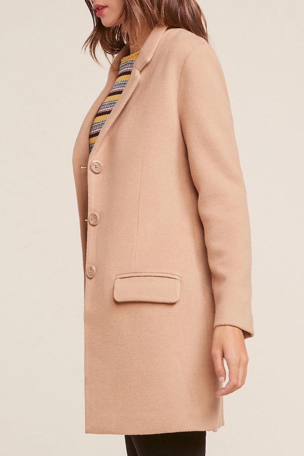 BB Dakota Twill Camel Coat - Front Full Image