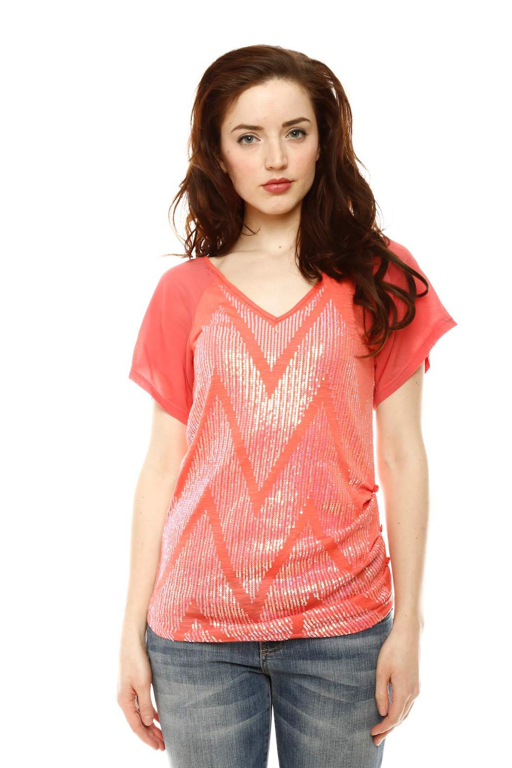 Miss Me Short Sleeve Sequin Top - Main Image