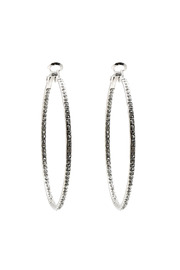 Talk of the Walk Silver Pave Hoop - Front cropped
