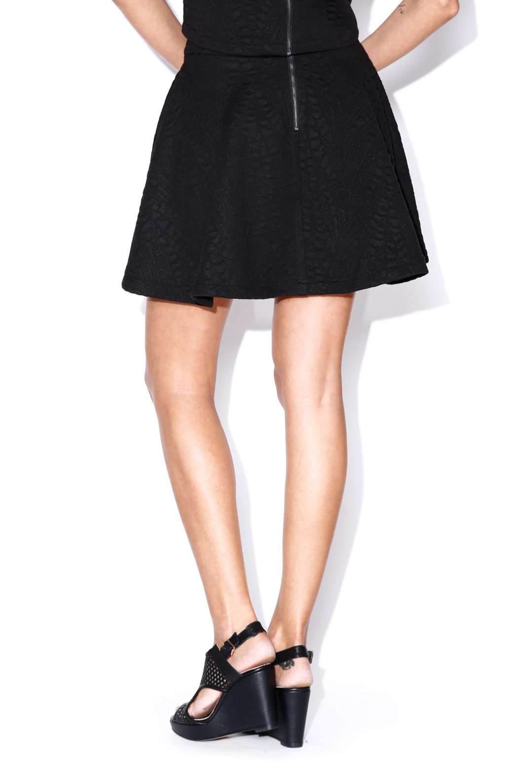 Lush Quilted Skater Skirt - Back Cropped Image