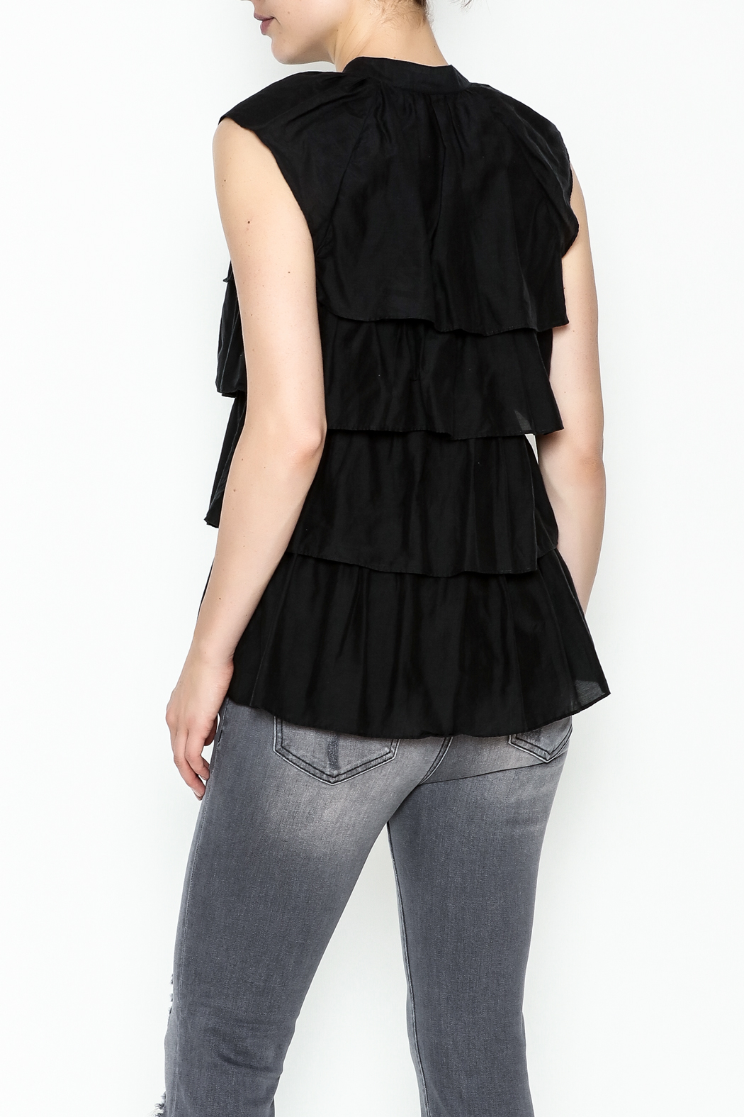 BCBG Max Azria Ruffled Black Blouse - Back Cropped Image